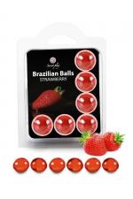 6 Brazilian Balls - fraise : La chaleur du corps transforme la brazilian ball en liquide glissant au parfum fraise, votre imagination s'en trouve exacerbée.