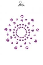 Bijoux de seins Mimi violets : Bijoux de corps en strass violets à poser en corole autour du mamelon pour un effet sexy garant