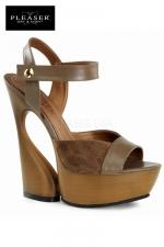 Sandales compensées Swan : Sandales compensées au look nature 70's en cuir et suédine, talons de 15 cm.