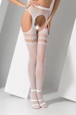 Collants ouverts S013 - Blanc : Collants ouverts en résille fantaisie blanche, avec effet porte jarretelles.