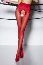 Collants ouverts TI006 - rouge : Collants ouverts en voile 30 deniers rouge, largement ouvert sur le pubis et les fesses.