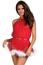 Robe body 2 en 1 mère Noël Santastic Obsessive : Joli costume de mère Noël sexy convertible en body rouge fabriqué par la marque Obsessive Lingerie.
