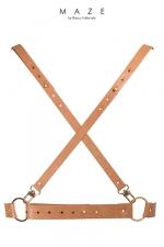 Harnais X marron - Maze : Harnais faux cuir (coloris marron)100% Vegan d'inspiration BDSM, en forme de X dans le dos, à porter sur ou sous vos vêtements.