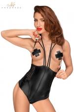 Body seins nus F179 : Body seins nus en wetlook avec zip dans le dos et à l'entre-jambes, et des bretelles fantaisie.
