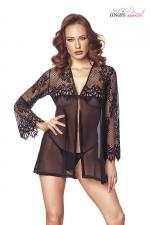 Nuisette Jolie dentelle noire - Anaïs : Magnifique nuisette en dentelle douce et raffinée, une lingerie luxe exclusive.