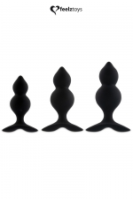 Coffret 3 plugs anal Bibi Twin - noir : Kit de 3 Plugs Anal en silicone, tailles différentes et formes spécifiques pour décupler le plaisir, par FeelzToys.