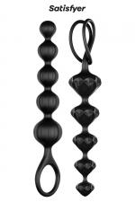 Love beads noires - satisfyer : Coffret contenant 2 chaines anales de formes différentes en silicone, idéales pour débuter ou s'entrainer au sexe anal. Coloris noir.