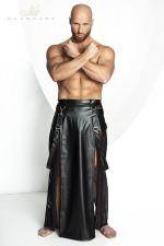 Jupe STRONGER Blade : Jupe longue pour homme style Samouraï en wetlook mat et tulle noir.