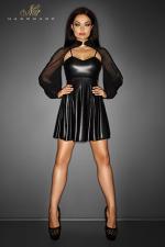 Robe Immoral : Robe courte évasée sur les cuisses en wetlook mat, avec un boléro de tulle transparent doux et léger.
