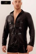 Chemise zippée Lord : Chemise en wetlook mat décorée de bandes vinyles sur le torse et le bas des manches, le style personnifié !
